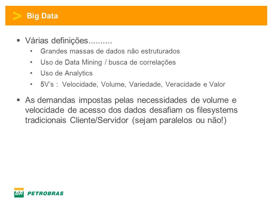 Big Data Várias definições.......... Grandes massas de dados não estruturados. Uso de Data Mining / busca de correlações.