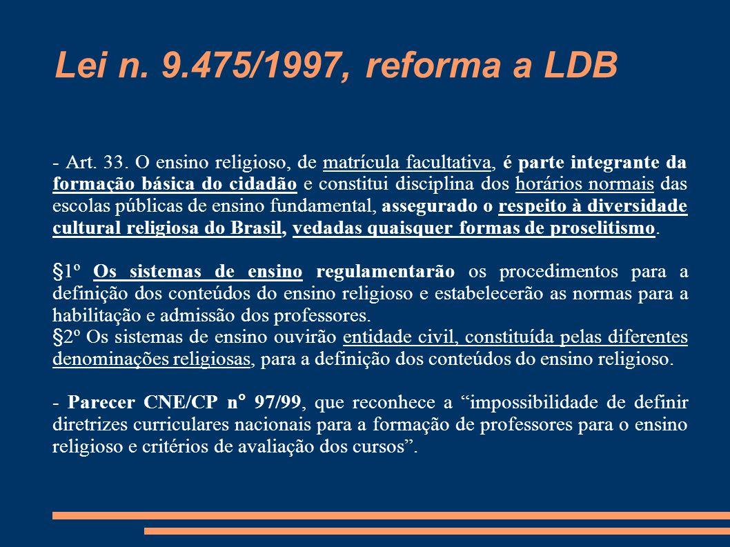 Lei n. 9.475/1997, reforma a LDB