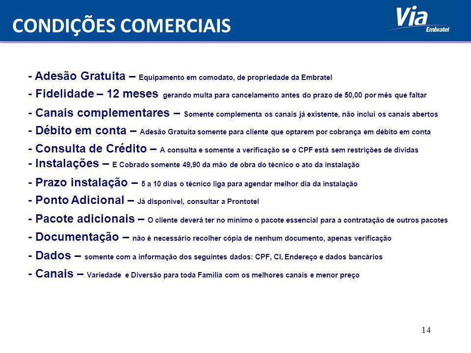 CONDIÇÕES COMERCIAIS - Adesão Gratuita – Equipamento em comodato, de propriedade da Embratel.
