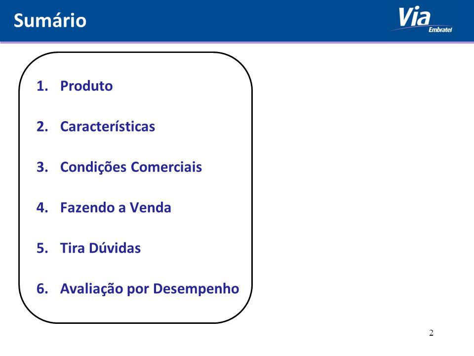 Sumário Produto Características Condições Comerciais Fazendo a Venda