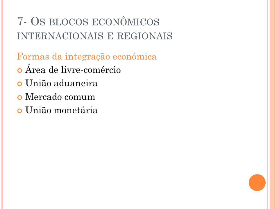 7- Os blocos econômicos internacionais e regionais