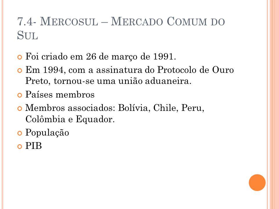 7.4- Mercosul – Mercado Comum do Sul