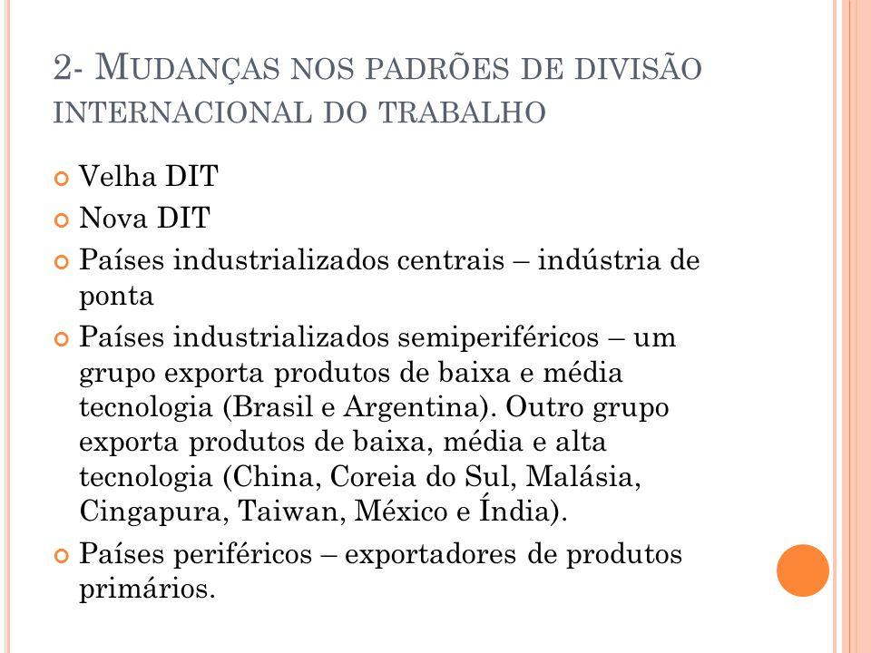 2- Mudanças nos padrões de divisão internacional do trabalho