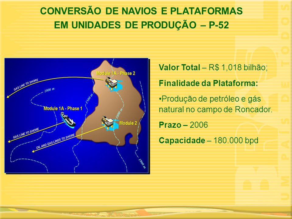 CONVERSÃO DE NAVIOS E PLATAFORMAS EM UNIDADES DE PRODUÇÃO – P-52