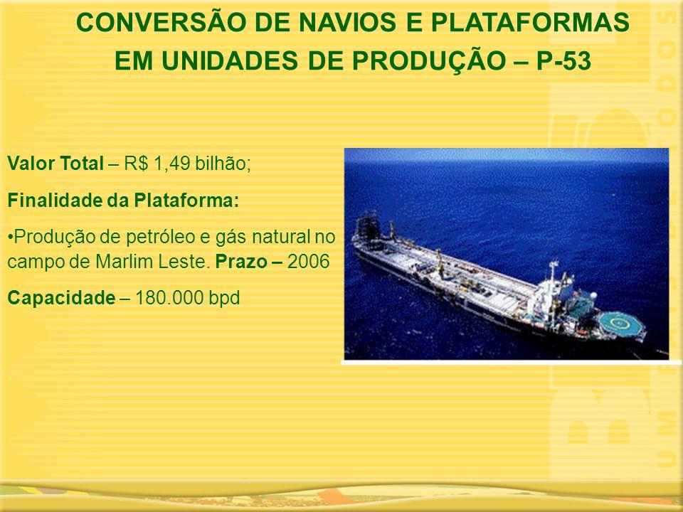 CONVERSÃO DE NAVIOS E PLATAFORMAS EM UNIDADES DE PRODUÇÃO – P-53