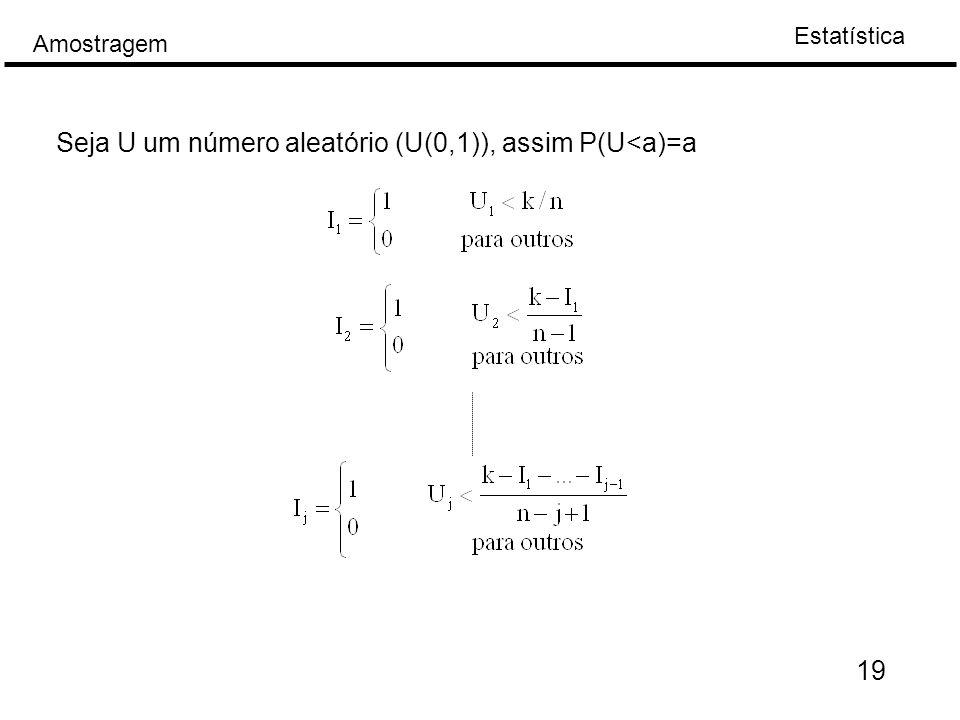 Seja U um número aleatório (U(0,1)), assim P(U<a)=a