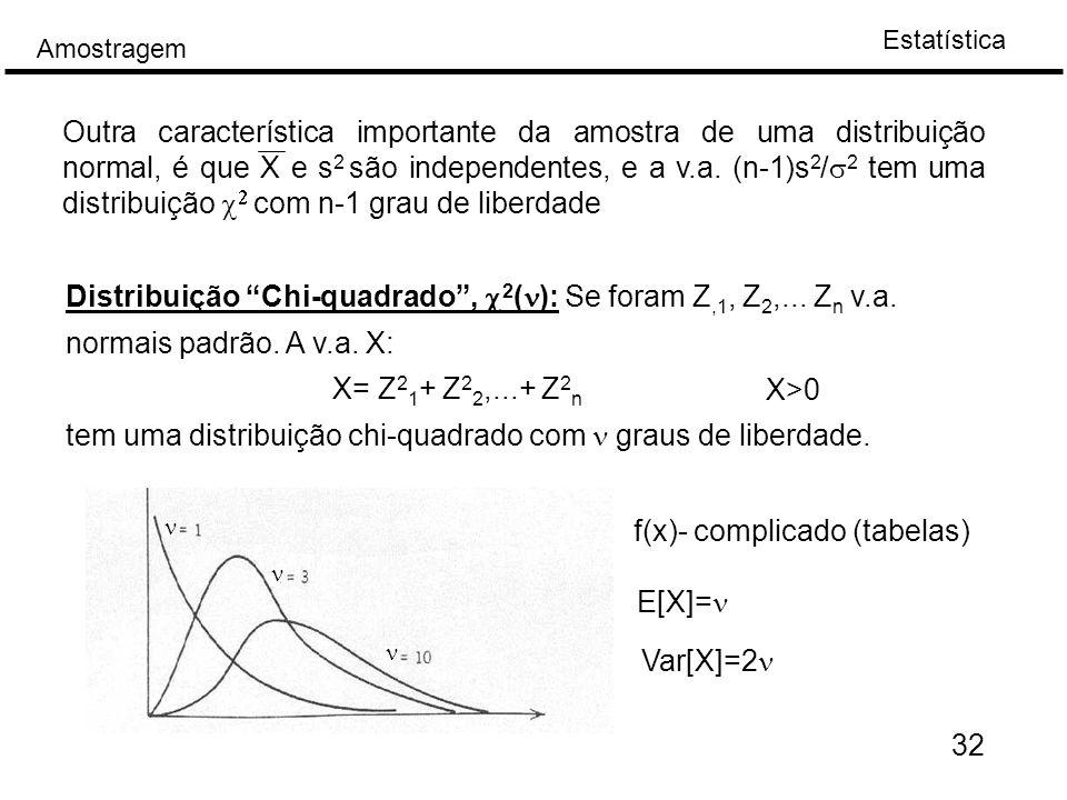 tem uma distribuição chi-quadrado com n graus de liberdade. X>0
