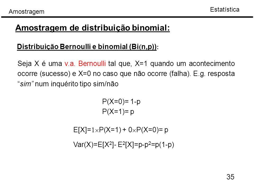 Amostragem de distribuição binomial: