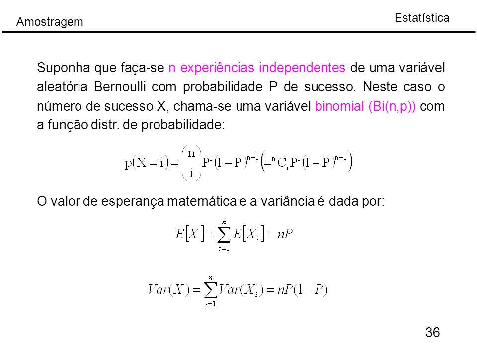 Suponha que faça-se n experiências independentes de uma variável aleatória Bernoulli com probabilidade P de sucesso. Neste caso o número de sucesso X, chama-se uma variável binomial (Bi(n,p)) com a função distr. de probabilidade: