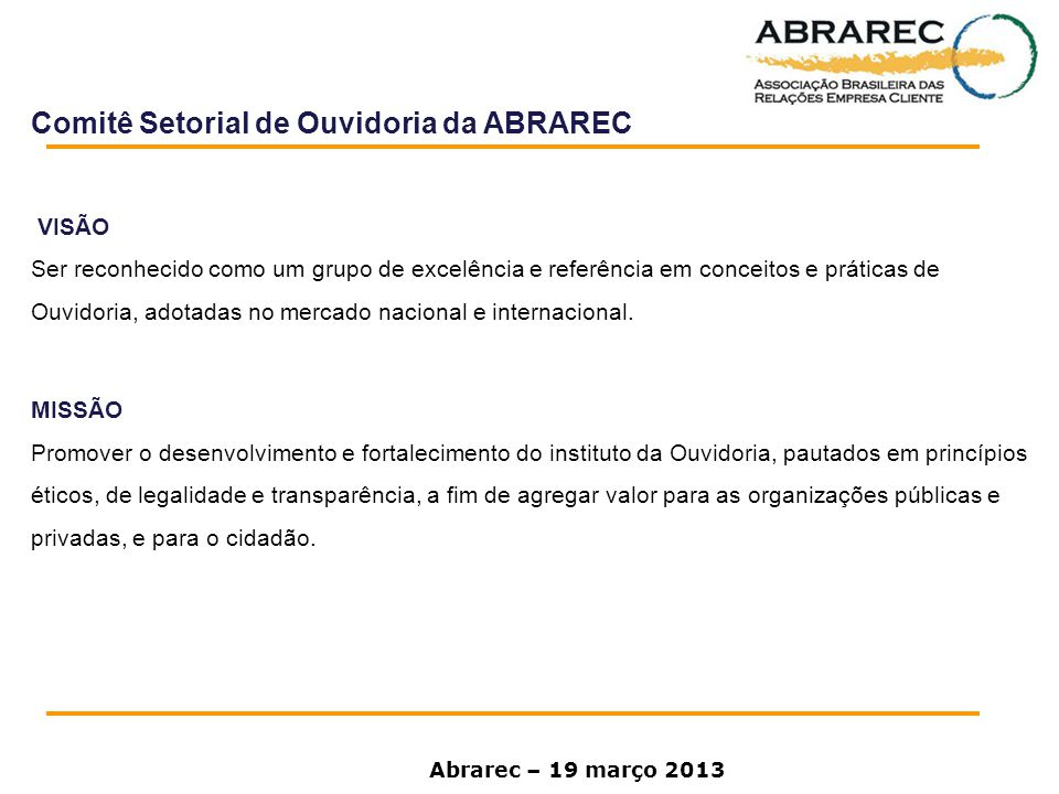 Comitê Setorial de Ouvidoria da ABRAREC