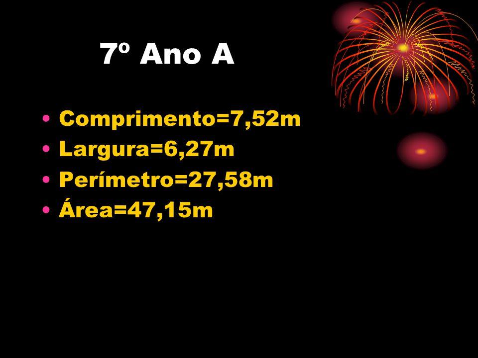 7º Ano A Comprimento=7,52m Largura=6,27m Perímetro=27,58m Área=47,15m