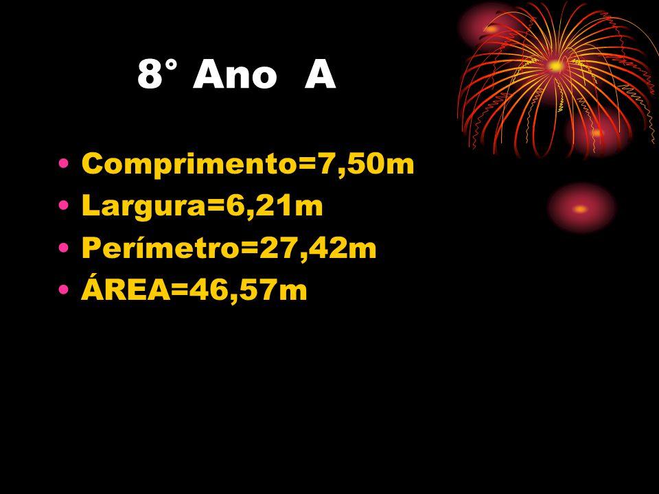 8° Ano A Comprimento=7,50m Largura=6,21m Perímetro=27,42m ÁREA=46,57m