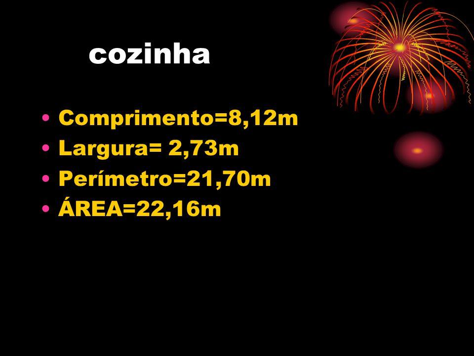 cozinha Comprimento=8,12m Largura= 2,73m Perímetro=21,70m ÁREA=22,16m