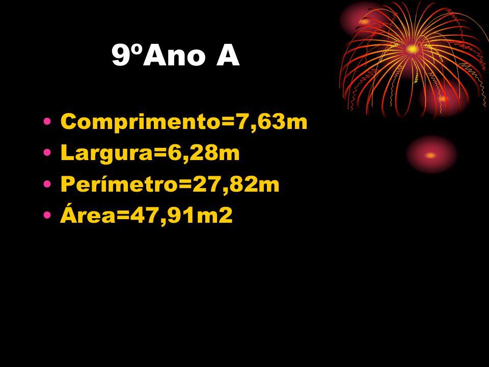 9ºAno A Comprimento=7,63m Largura=6,28m Perímetro=27,82m Área=47,91m2