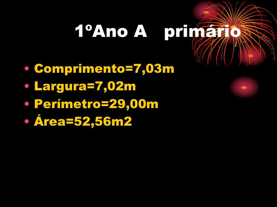 1ºAno A primário Comprimento=7,03m Largura=7,02m Perímetro=29,00m