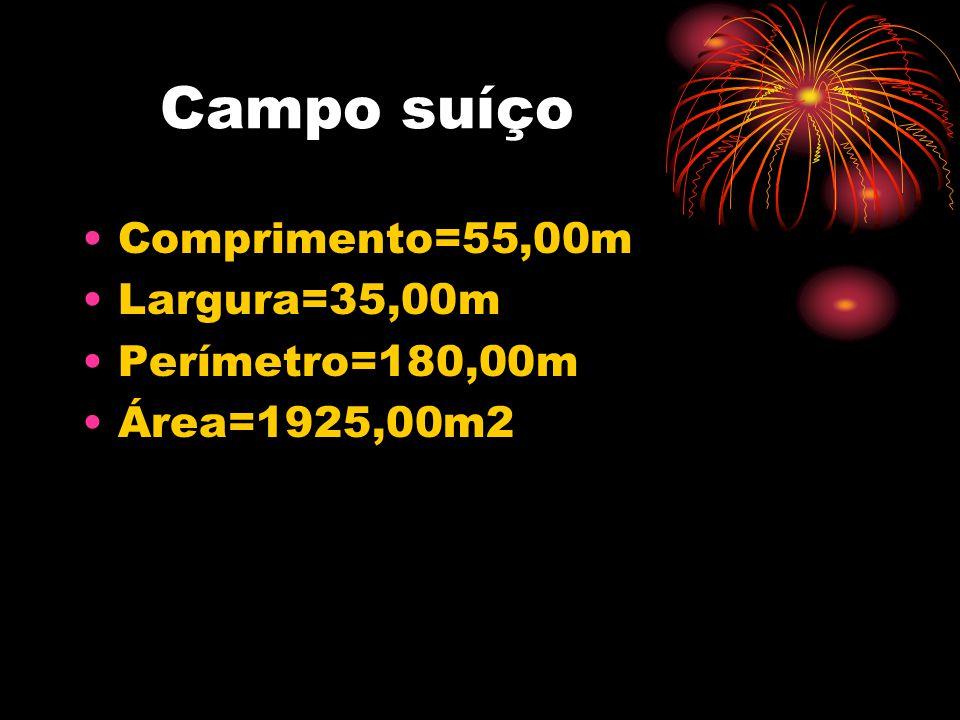 Campo suíço Comprimento=55,00m Largura=35,00m Perímetro=180,00m