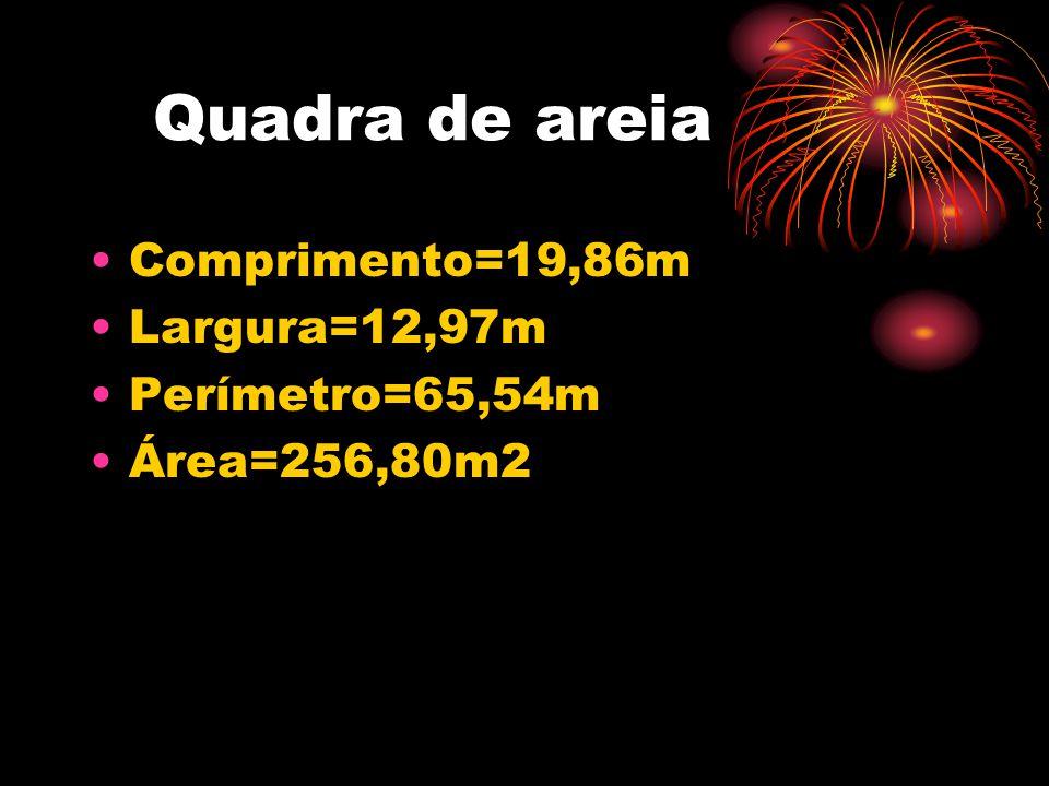 Quadra de areia Comprimento=19,86m Largura=12,97m Perímetro=65,54m