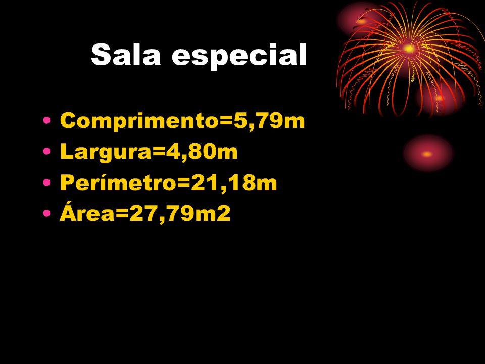 Sala especial Comprimento=5,79m Largura=4,80m Perímetro=21,18m