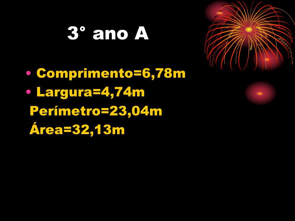 3° ano A Comprimento=6,78m Largura=4,74m Perímetro=23,04m Área=32,13m