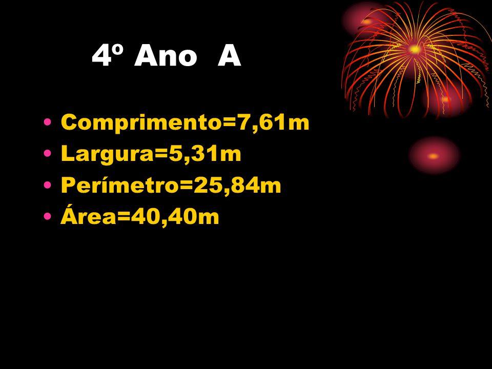 4º Ano A Comprimento=7,61m Largura=5,31m Perímetro=25,84m Área=40,40m