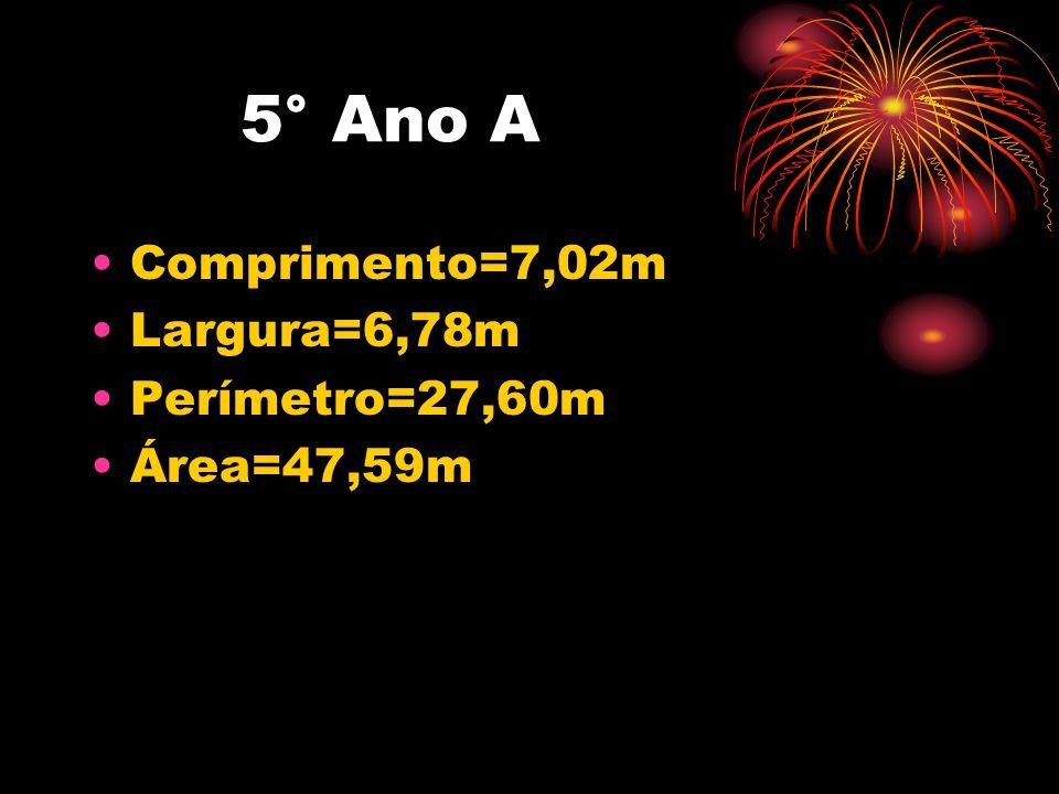 5° Ano A Comprimento=7,02m Largura=6,78m Perímetro=27,60m Área=47,59m