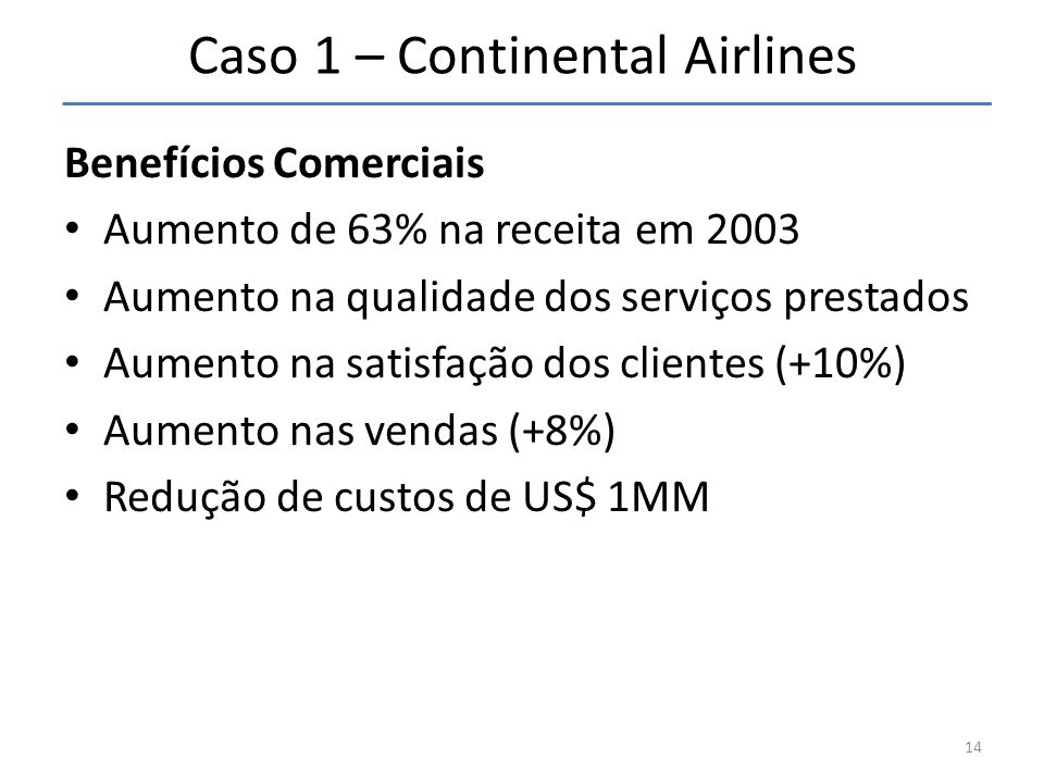 Caso 1 – Continental Airlines