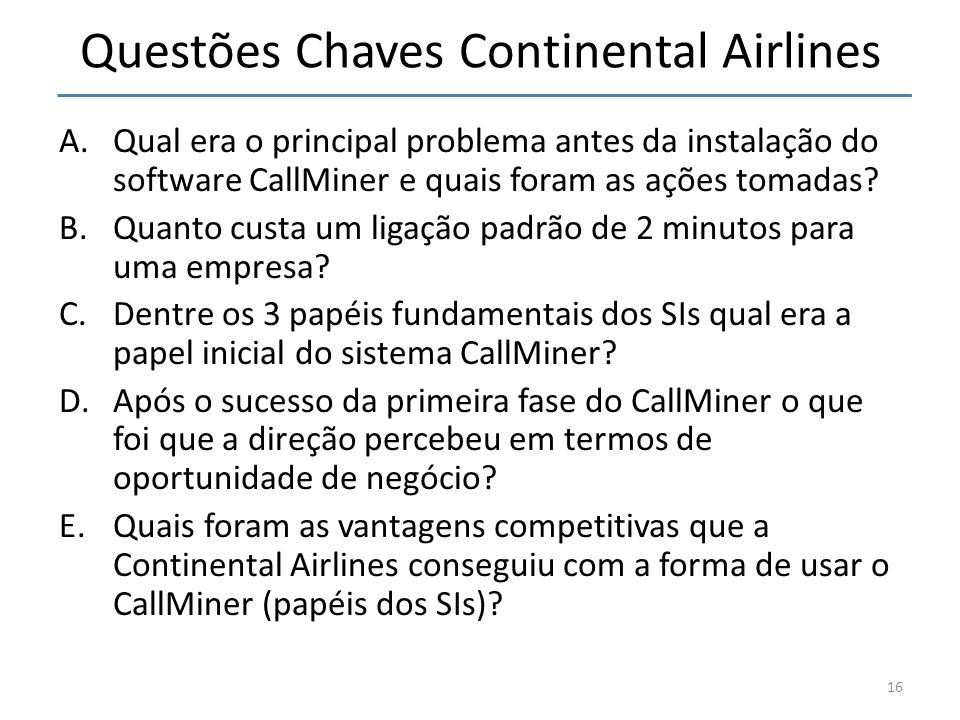Questões Chaves Continental Airlines