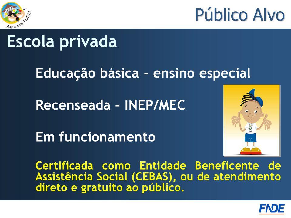 Público Alvo Escola privada Educação básica - ensino especial
