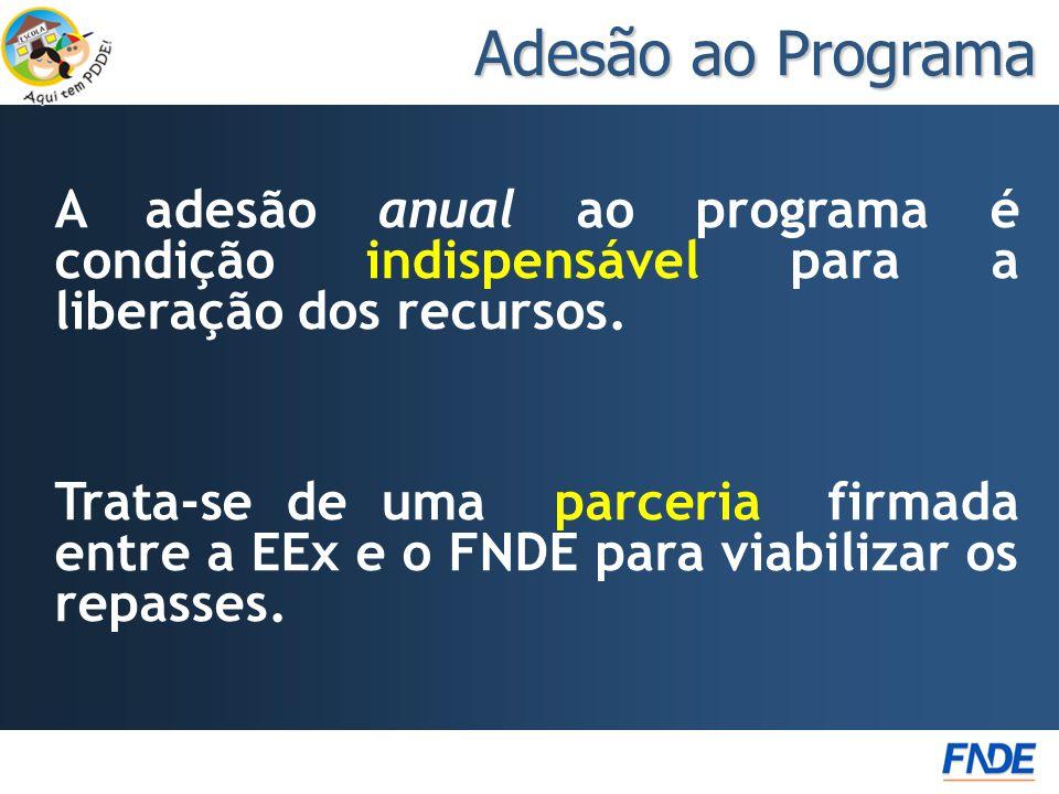 Adesão ao Programa A adesão anual ao programa é condição indispensável para a liberação dos recursos.