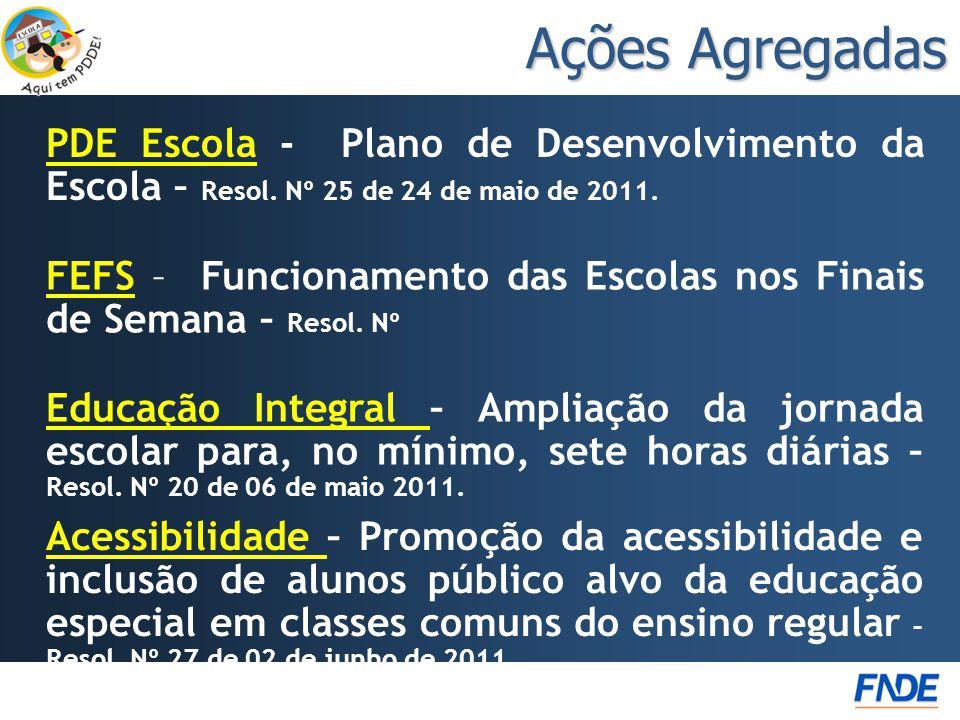 Ações Agregadas PDE Escola - Plano de Desenvolvimento da Escola – Resol. Nº 25 de 24 de maio de 2011.