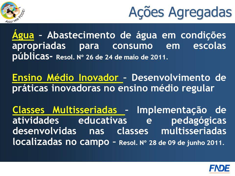 Ações Agregadas Água – Abastecimento de água em condições apropriadas para consumo em escolas públicas- Resol. Nº 26 de 24 de maio de 2011.