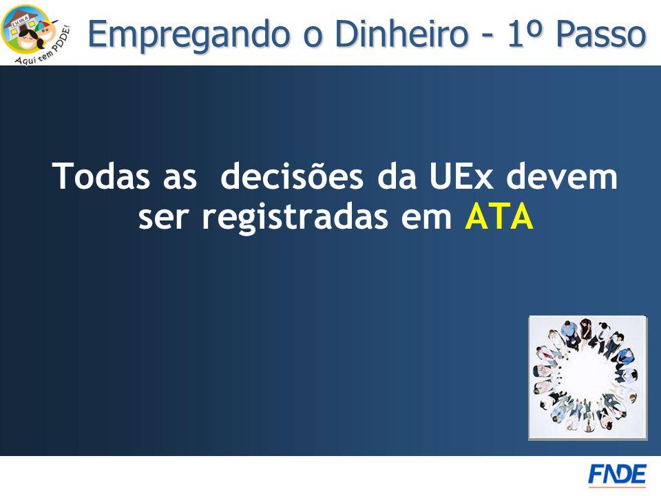 Todas as decisões da UEx devem ser registradas em ATA