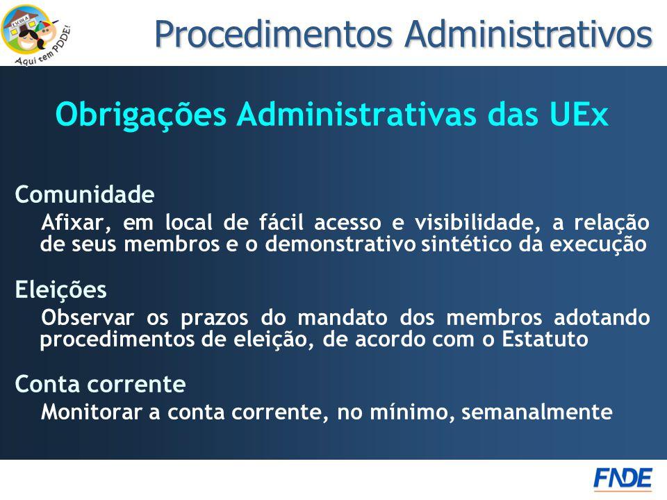 Obrigações Administrativas das UEx