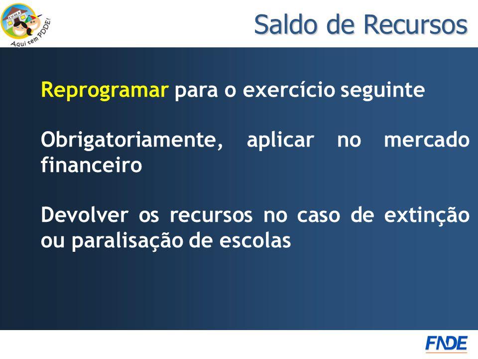 Saldo de Recursos Reprogramar para o exercício seguinte