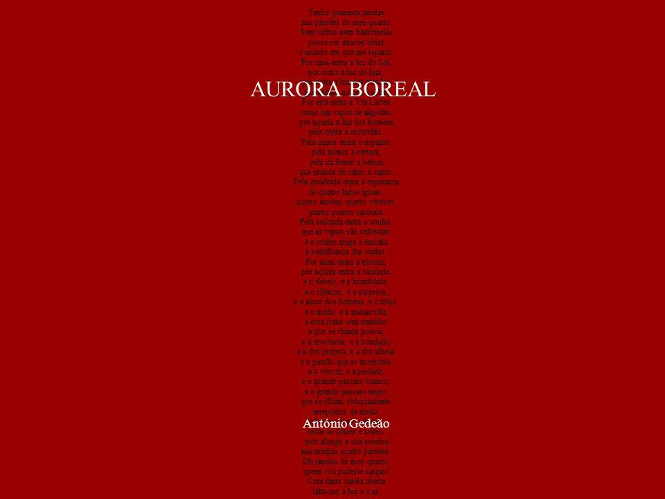 AURORA BOREAL António Gedeão Tenho quarenta janelas
