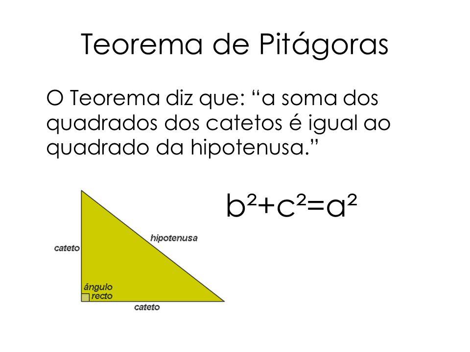 b²+c²=a² Teorema de Pitágoras