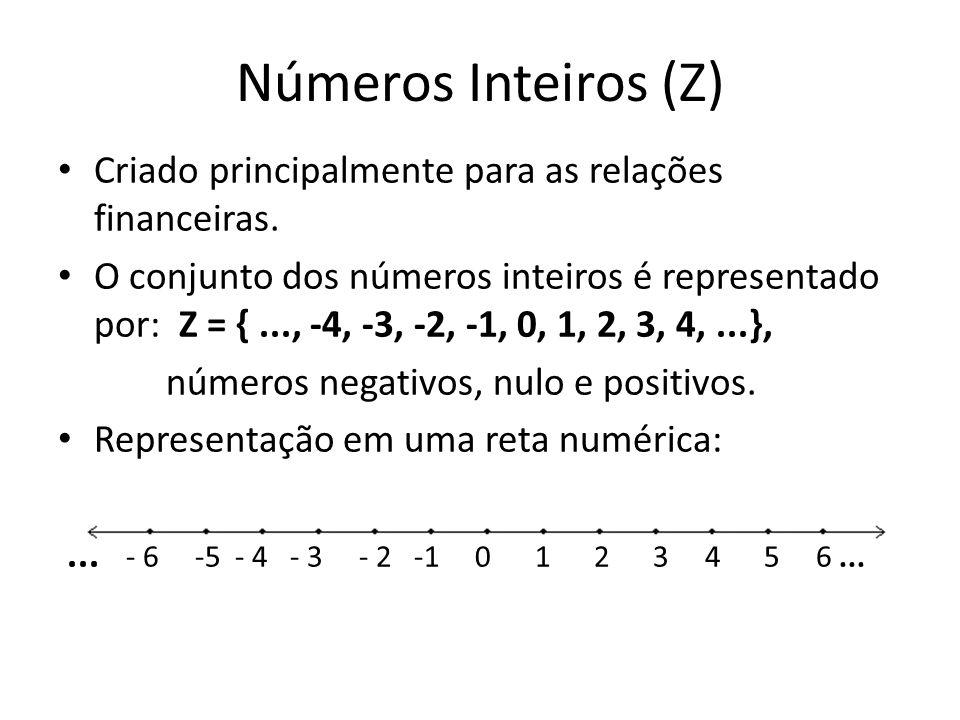 Números Inteiros (Z) Criado principalmente para as relações financeiras.