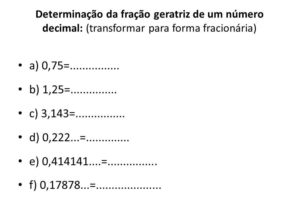 Determinação da fração geratriz de um número decimal: (transformar para forma fracionária)