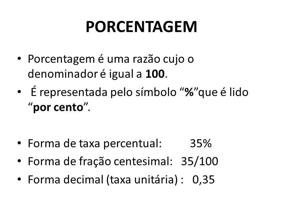 PORCENTAGEM Porcentagem é uma razão cujo o denominador é igual a 100.