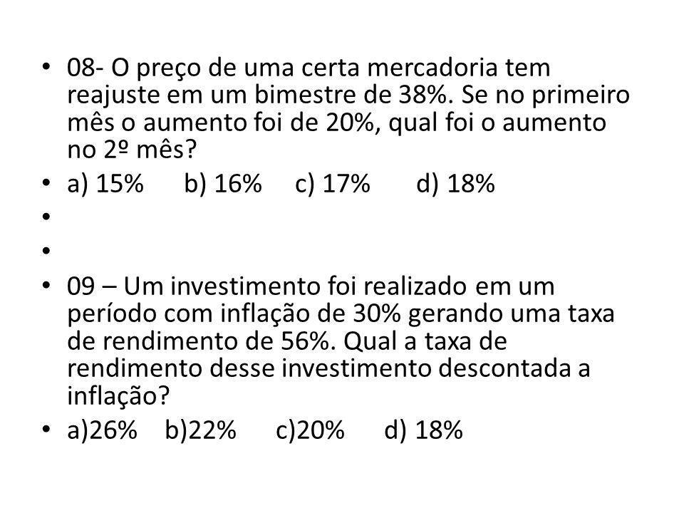 08- O preço de uma certa mercadoria tem reajuste em um bimestre de 38%