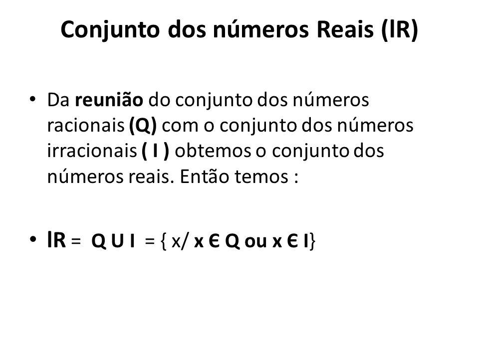 Conjunto dos números Reais (lR)