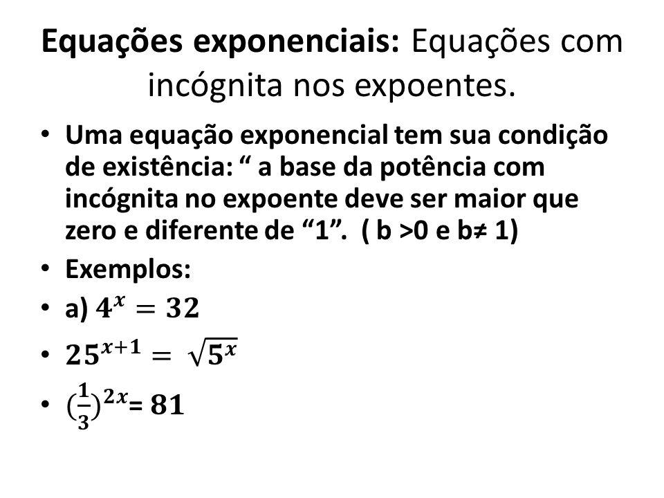 Equações exponenciais: Equações com incógnita nos expoentes.