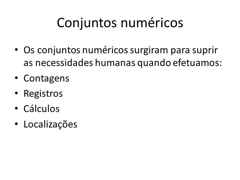 Conjuntos numéricos Os conjuntos numéricos surgiram para suprir as necessidades humanas quando efetuamos: