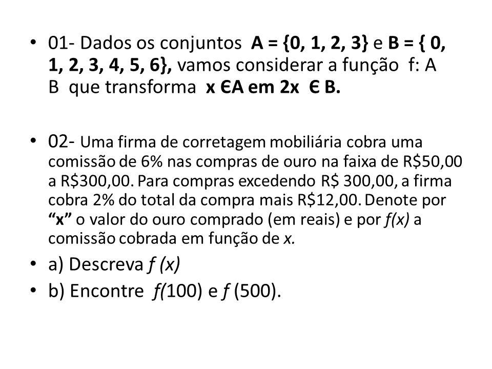 01- Dados os conjuntos A = {0, 1, 2, 3} e B = { 0, 1, 2, 3, 4, 5, 6}, vamos considerar a função f: A B que transforma x ЄA em 2x Є B.
