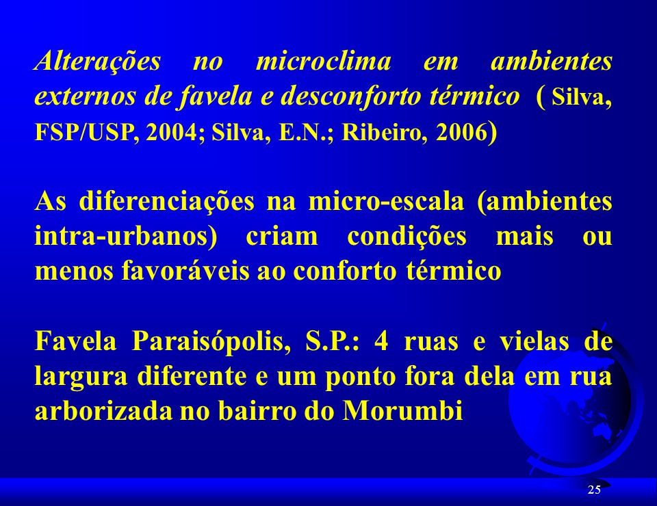 Alterações no microclima em ambientes externos de favela e desconforto térmico ( Silva, FSP/USP, 2004; Silva, E.N.; Ribeiro, 2006)