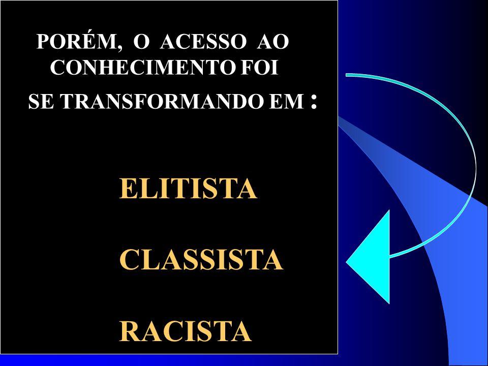 ELITISTA CLASSISTA RACISTA CONHECIMENTO FOI SE TRANSFORMANDO EM :