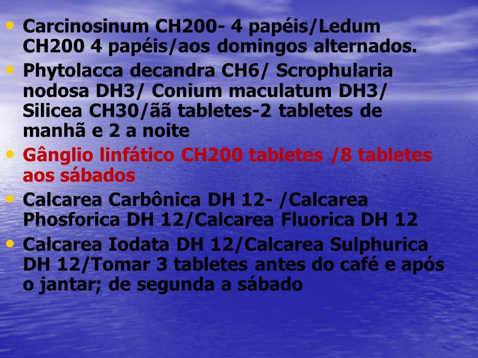 Carcinosinum CH200- 4 papéis/Ledum CH200 4 papéis/aos domingos alternados.