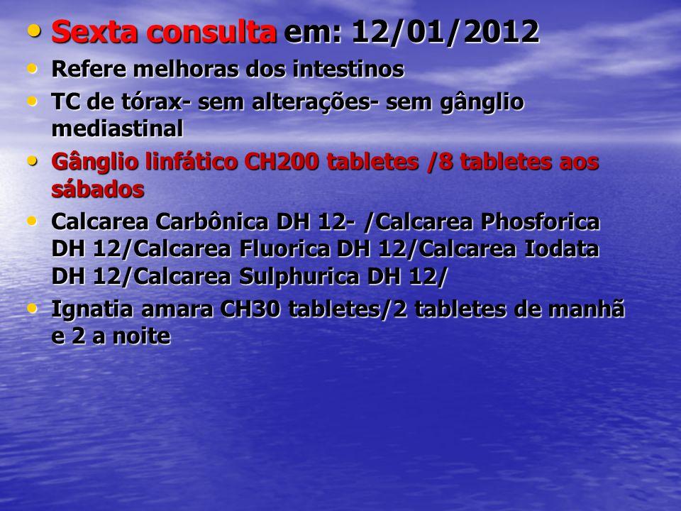 Sexta consulta em: 12/01/2012 Refere melhoras dos intestinos
