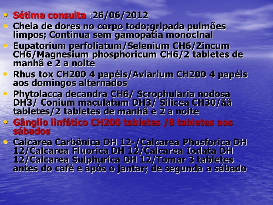 Sétima consulta :26/06/2012 Cheia de dores no corpo todo;gripada pulmões limpos; Continua sem gamopatia monoclnal.