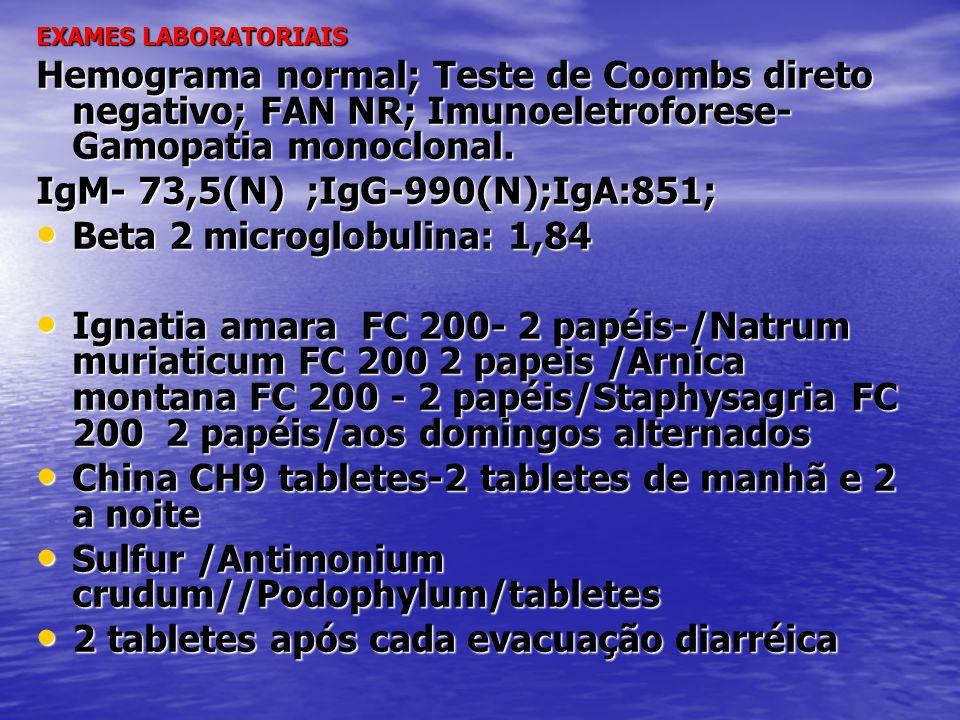 IgM- 73,5(N) ;IgG-990(N);IgA:851; Beta 2 microglobulina: 1,84